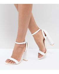 Lost Ink - Blaise White Block Heeled Sandals - Lyst