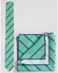 Minimum - Tie And Pocket Square Set In Stripe - Lyst