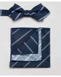 Minimum - Bow Tie And Pocket Square Set In Stripe - Lyst