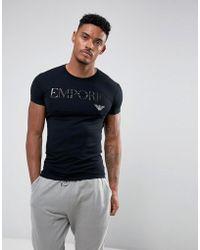 Emporio Armani - Schwarzes Lounge-T-Shirt mit Logoschriftzug - Lyst
