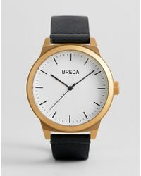 Breda - Men's 'rand' Gold And Black Leather Strap Watch 43mm - Lyst