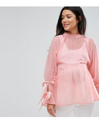 ASOS | Smock Top With Tie Sleeves | Lyst