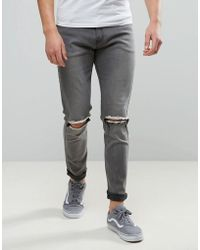 a7d432db9404 Liquor N Poker - Slim Jeans Knee Rip Charcoal Grey - Lyst