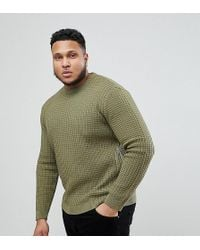 ASOS - Asos Plus Textured Jumper In Khaki - Lyst
