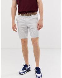 River Island - Belted Chino Shorts In Stone - Lyst