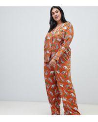 ASOS - Asos Design Curve Safari Animal Pyjama Shirt And Wide Leg Set 100% Modal - Lyst