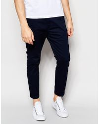 Dr. Denim - Slim Tapered Diggler Chino With Turn Up In Deep Blue - Lyst