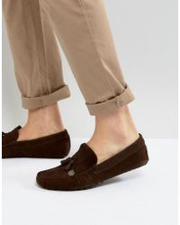 ASOS - Driving Shoes In Brown Suede With Charm - Lyst