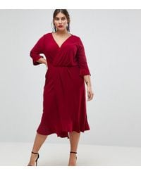 ASOS - Wrap Front Midi Dress With Frill Detail - Lyst