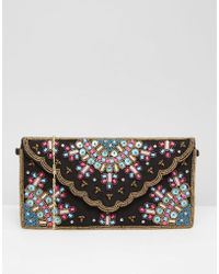 Park Lane - Multi Embellished Clutch Bag With Scallop Detail - Lyst