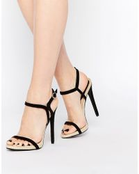 Daisy Street - Barely There Two Part Heeled Sandals - Black - Lyst