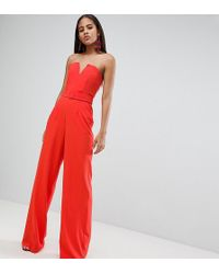 8e4da5df598 ASOS - Asos Design Tall Jumpsuit With Structured Bodice And Wide Leg - Lyst