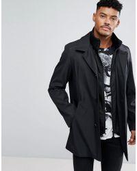 HUGO - Detachable Insert Car Coat In Black - Lyst