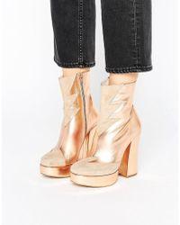 Terry De Havilland - Metallic Leather Mega Platform Ankle Boots - Lyst
