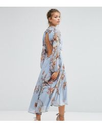 Hope and Ivy - Hope & Ivy Printed Open Back Midi Dress With Lace Inserts - Lyst