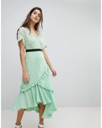 Three Floor - Midi Dress With Lace Bodice - Lyst