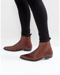 ASOS - Chelsea Boots In Brown Leather With Snake Detail - Lyst