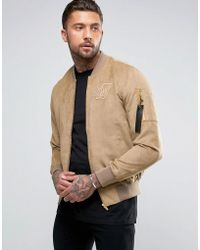 SIKSILK - Suedette Bomber Jacket In Stone - Lyst