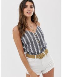 Abercrombie & Fitch - Smock Top With Button Front In Stripe - Lyst