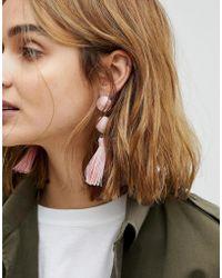 ASOS - Wrapped Bead & Tassel Earrings - Lyst