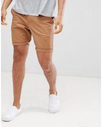 ASOS - Design Skinny Chino Shorts In Camel - Lyst
