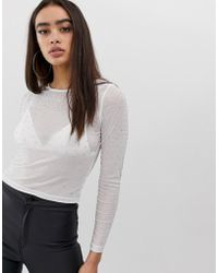 71ff1c64c4a ASOS Long Sleeve Top In Mesh With Crystal Studs in Black - Lyst