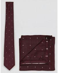 ASOS - Design Polka Dot Tie And Pocket Square Set - Lyst