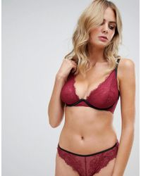 bb9b4c7f17 Wolf   Whistle - High Apex Exposed Wire Lace Bra In Burgundy - Lyst
