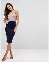 ASOS   Scuba Pencil Skirt With Bow Back Detail   Lyst