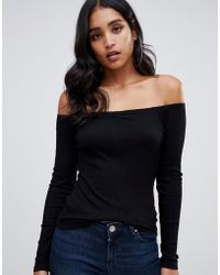 454b4acf83d Lyst - ASOS Off Shoulder Slouchy Top With Side Split in Black