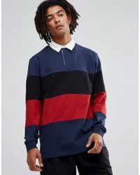 ASOS - Longline Long Sleeve Rugby Polo Shirt With Colour Block In Heavyweight Jersey - Lyst