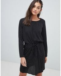ONLY - Printed Drawstring Waist Mini Dress In Black - Lyst
