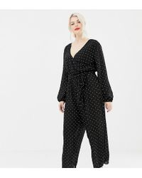 ca3c96a2c9d2 ASOS - Asos Design Curve Jumpsuit With Wrap In Polka Dot - Lyst