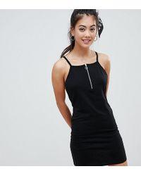 ASOS - Asos Design Petite Zip Front Low Back Dress - Lyst