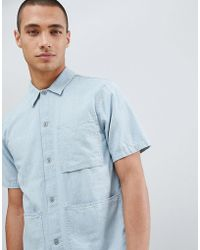 Nudie Jeans - Co Svante Denim Short Sleeve Organic Cotton Worker Shirt - Lyst