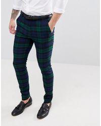 ASOS - Pantalones de traje muy ajustados con estampado escocs Blackwatch de  - Lyst ea7700f5cbf