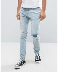 Hollister - Skinny Crop Jeans In Stretch Bleach Wash With Rip Repair - Lyst