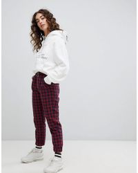 Daisy Street - Slim Fit Trousers With Ring Pull In Tartan - Lyst