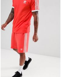 adidas Originals - 3-stripe Jersey Shorts In Red Dh5800 - Lyst
