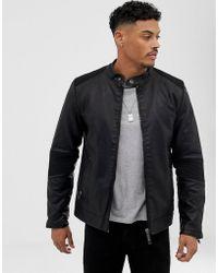 Blend - Racer Jacket In Black Faux Leather - Lyst