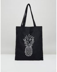 ASOS | Tote Bag With Pineapple Print In Black | Lyst