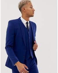 3c0b8312d4ed ASOS Wedding Super Skinny Suit Jacket In Bright Blue Micro Texture ...