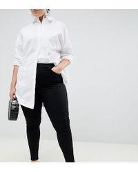 ASOS - Asos Design Curve Sculpt Me High Waisted Premium Jeans In Clean Black - Lyst