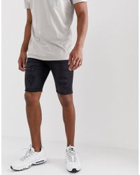 River Island - Skinny Shorts In Washed Black - Lyst