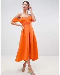 ASOS - Design Bardot Pleated Waist Scuba Midi Prom Dress - Lyst
