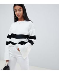 Boohoo - Contrast Stripe Jumper In White - Lyst