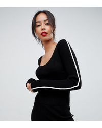 ASOS - Tall Co-ord Jumper In Rib Knit With Tipping - Lyst