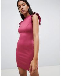 ASOS - Asos Mini High Neck Pencil Dress With Cut Out Back And Shoulder Detail - Lyst