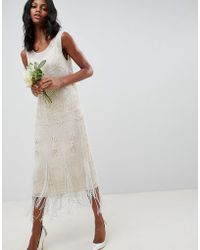 ASOS - Fringe Embellished Midi Wedding Dress With A Low Back - Lyst