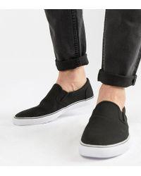 ASOS - Wide Fit Slip On Plimsolls In Black Canvas - Lyst